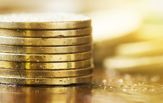Web banner of money coins - early retirement concept